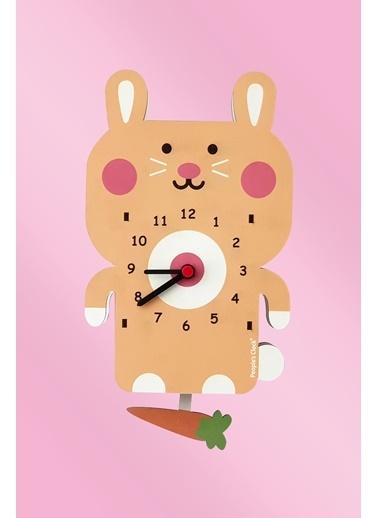 Peoples Clock Tavşan ve Havuç Sallanan Sarkaçlı Çocuk Odası Duvar Saati Renkli